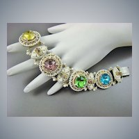 Victorian Revival Style Bookchain Enameled Bracelet ~Large Foiled Back Stones