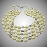 Elegant Oval White Satin and Faceted Clear Bead Five-Strand Necklace