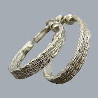 Goldette Oval Hoop Earrings in Silver Tone