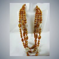 Yummy Caramel Lucite Bead Necklace with Gold Tone