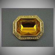 Honey Amber and Comet Aurum Stone Brooch