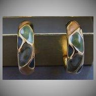 Half Hoop Enamel and Gold Tone Earrings