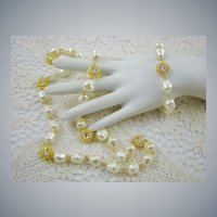 Opera Length Baroque Imitation Pearl and Rhinestone Set