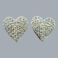 Dazzling Judy Lee Heart Rhinestone Evening Earrings