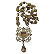 Bronze, Chocolate and Champagne Glass Bead and Rhinestone Necklace
