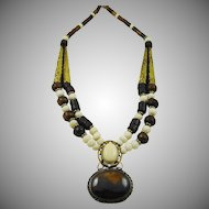 Chocolate and Cream African Horn Necklace