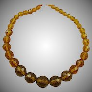 Multi-Faceted Amber Colored Glass Bead Necklace