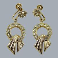 Art Deco Rhodium Plated Rhinestone Dangle Earrings