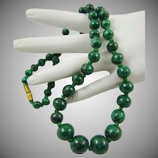 Hand Carved Genuine Malachite Bead Necklace