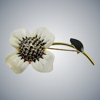 White and Black  Enamel and Jet Black Rhinestone Flower Brooch