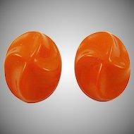 Germany Tangerine Molded Lucite Earrings