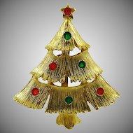 Enameled Lights on Gold Tone Christmas Tree Brooch