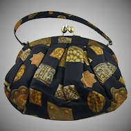 Black Satin Morris Moskowitz Handbag ~ Fall Geometric Design