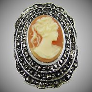 Stunning Shell Cameo and Marcasite Ring ~ Size 7