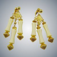 Asian Inspired Gold Tone Filigree Drop Earrings