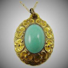 Art Deco Bavarian Porcelain Medallion Pendant and Necklace ~ Robin's Egg Blue