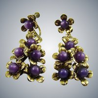 1940s Purple Moonglow Bead Drop Earrings