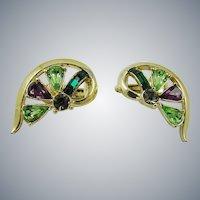 Coro Half Heart Shaped Rhinestone Earrings