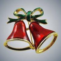 Enameled Christmas Bells Brooch by SFJ