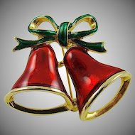 Enameled Christmas Bells Brooch by SFJ