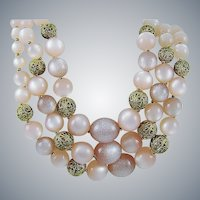 """Pink Moonglow Bead """"Mad Men"""" Necklace"""