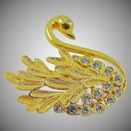 Gold Tone and Rhinestone Swan Brooch