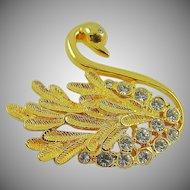 Gold Tone and Rhinestone Swan Brooch