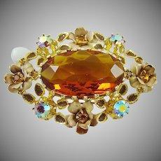 Breathtaking Honey Amber Glass ~ Rhinestones ~ Enamel Austria Brooch