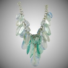 Graziano Ice Blue, Aquamarine and Clear Acrylic Bead Necklace ~ Runway