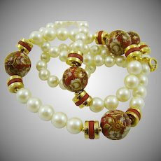 Imitation Pearl and Burgundy Painted Bead Necklace