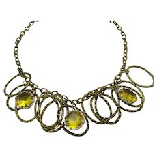 Antiqued Bronze Rings and Yellow Rhinestones Dangle Necklace