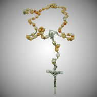 Italian Coral and White Glass Bead Rosary