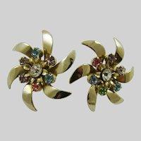 Silver Tone Pinwheel Earrings with Rhinestones