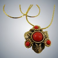 Lipstick Red Cabochon Pendant and Gold Tone Chain