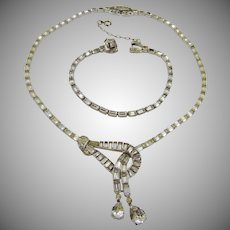 Mazer Bros Lariat Necklace and Matching Bracelet ~ Art Deco