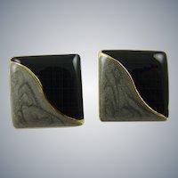 Art Deco Style Earrings in Gray and Black Enamel