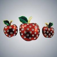 Candy Apple Red Enamel Apple Demi Parure with Rhinestones