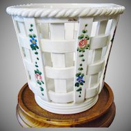 Italian Glazed Pottery Basket ~ Hand Painted