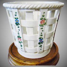 Italian Glazed Pottery Basket ~ Hand Painted