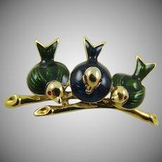 Three Little Birds on A Branch Brooch