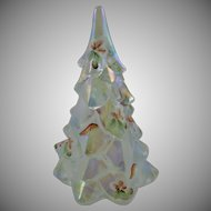 Fenton Iridescent Hand Painted Christmas Tree