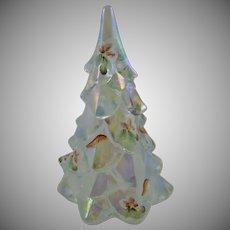 Fenton Iridescent Hand Painted Christmas Tree