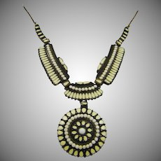 Native American Style Mixed Metal Enameled Necklace