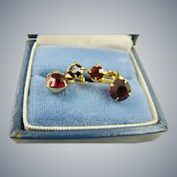 Small Garnet Red Rhinestone Drop Earrings