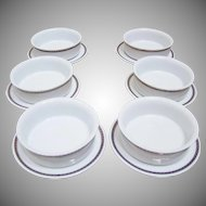 Delta Airlines Soup/Dessert Bowls and Under Plates (6)