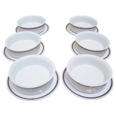 Delta Airlines Soup/Dessert Bowls and Under Plates (6) - Red Tag Sale Item