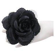 Fabric Black Camellia Corsage