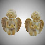 Two Small Bisque Porcelain Angels