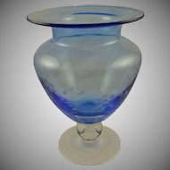 Cobalt Blue and Clear Large Etched Vase