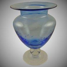 Cobalt Blue and Clear Large Etched Vase